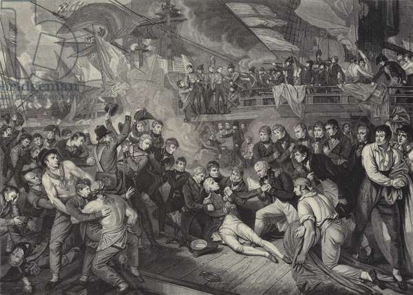 The Death of Admiral Lord Nelson at the Battle of Trafalgar, 1805 (engraving)