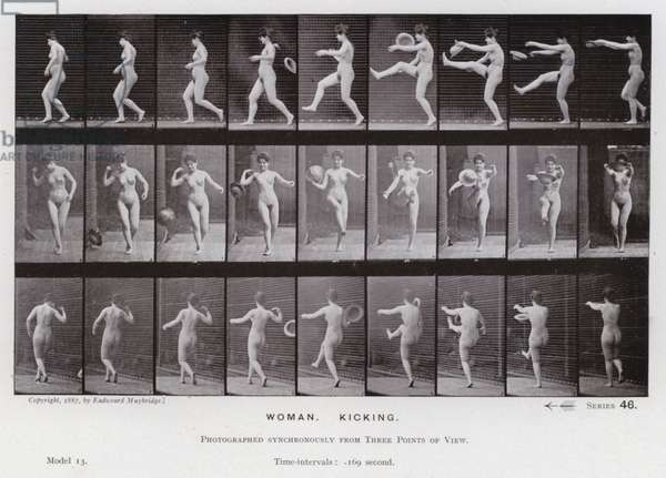 The Human Figure in Motion: Woman, Kicking (b/w photo)