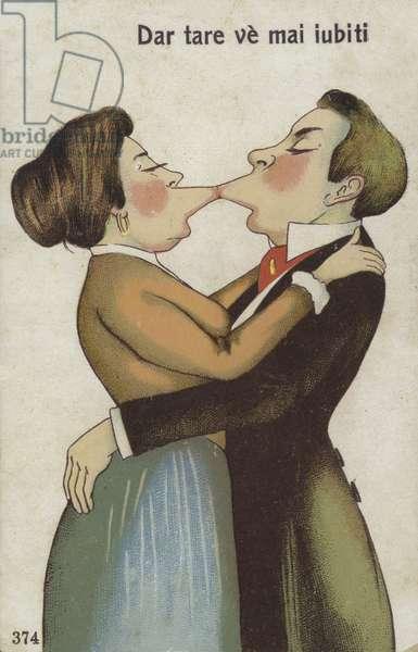 Kissing couple (colour litho)
