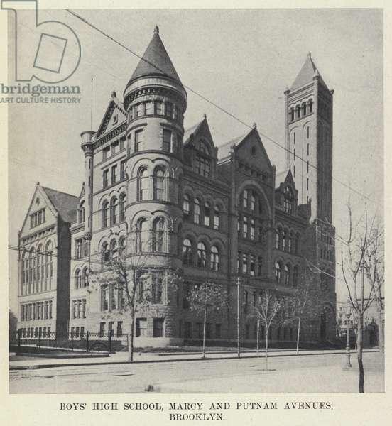 Boys' High School, Marcy and Putnam Avenues, Brooklyn (b/w photo)