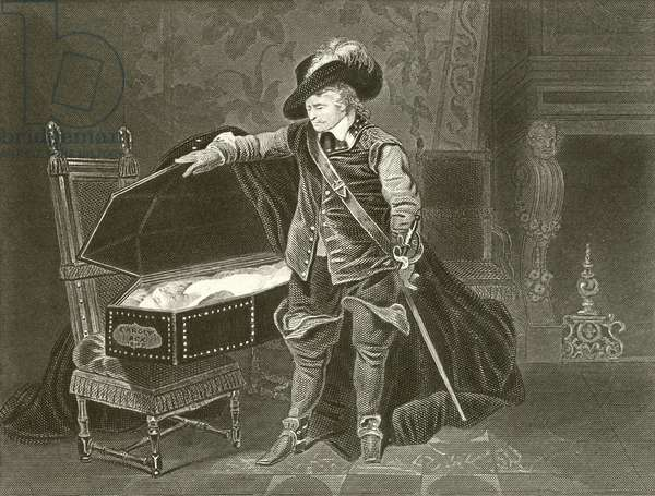 Cromwell viewing the dead body of Charles I (engraving)