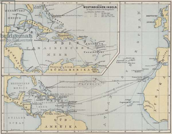 Map showing the voyages of Christopher Columbus, 1492-1504 (coloured engraving)