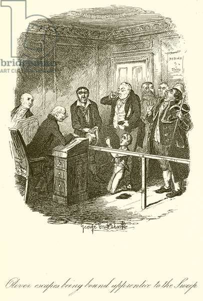 Oliver excapes being bound apprentice to the Sweep (engraving)