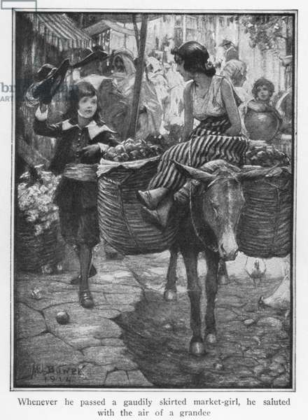 Whenever he passed a gaudily skirted market-girl, he saluted with the air of a grandee (litho)