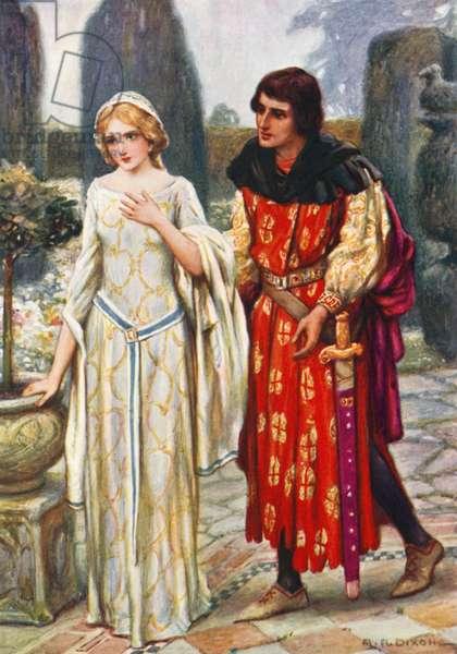 Sir Lancelot and Elaine (colour litho)