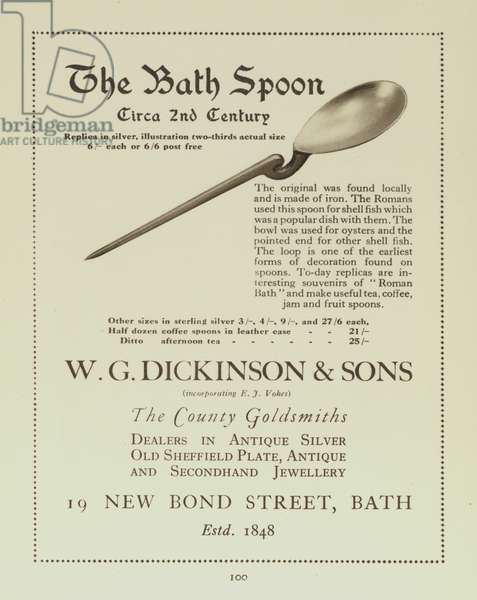 Advertisement for a replica of the c 2nd Century Roman Bath Spoon from W G Dickinson & Sons, goldsmiths, Bath, Somerset (litho)