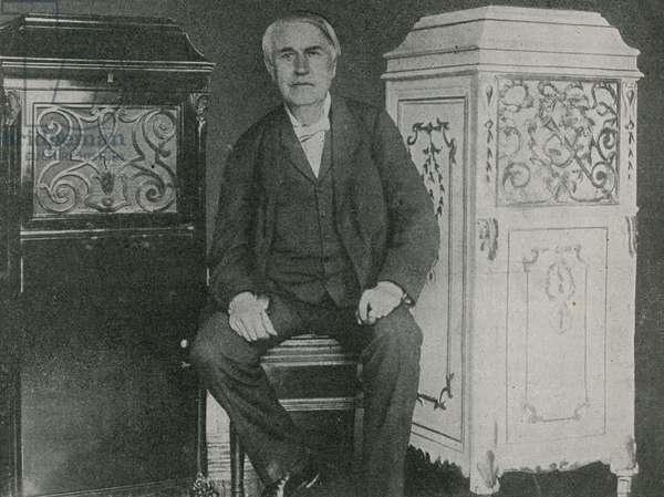 Thomas Edison, American inventor (b/w photo)