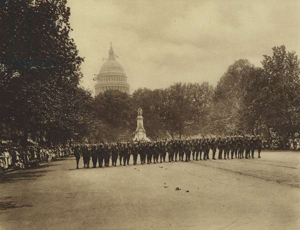 America in World War I: On August 12, 1919, the Fourth Brigade of Marines was reviewed by the President of the United States in a parade at Washington, DC (b/w photo)