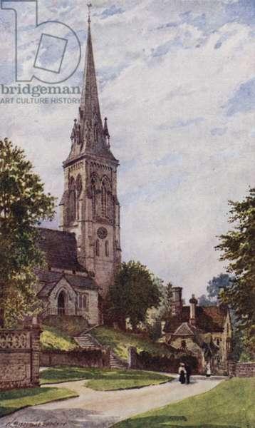 Edensor Church, Chatsworth (colour litho)