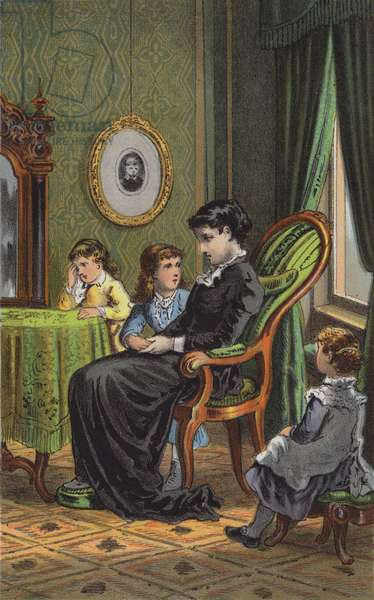 The Mother and Her Children (colour litho)