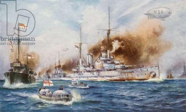 The surrender of the German High Seas Fleet, 1918 (colour litho)