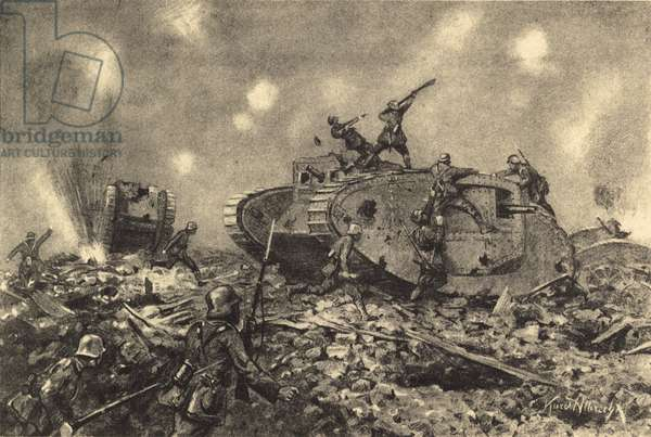 Destruction of English tanks by German forces (litho)
