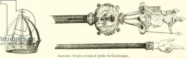 Couronne, Sceptre et main de justice de Charlemagne (engraving)