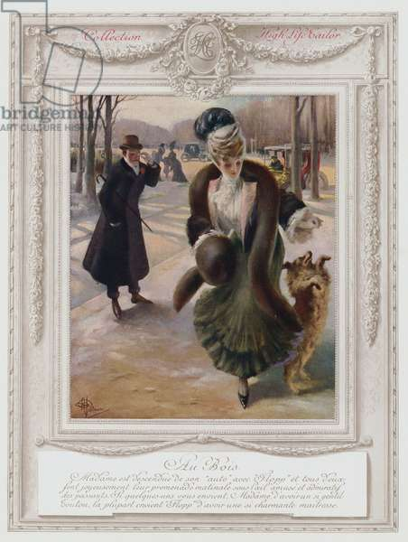 Belle Epoque Paris, Fashionable lady in the Bois de Boulogne (colour litho)