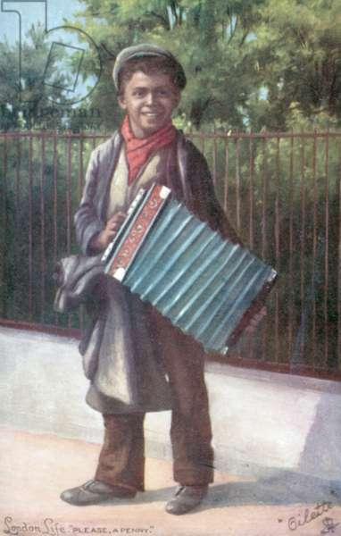 Boy playing an accordion (colour litho)