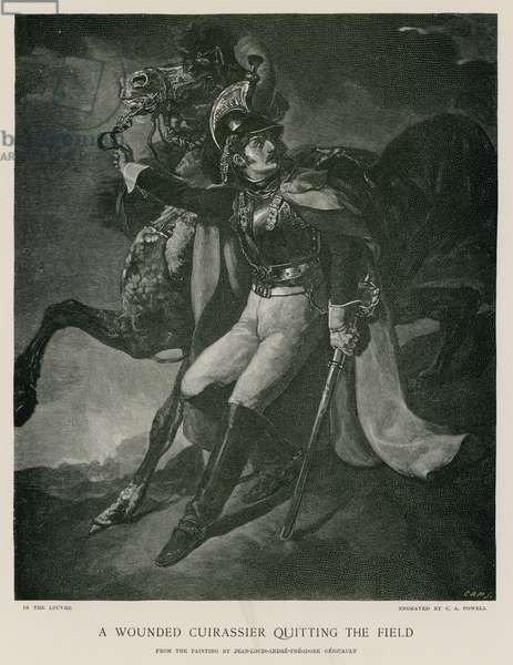 A wounded cuirassier quitting the field (engraving)