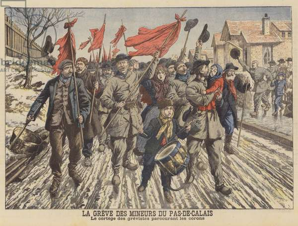 Strike by the miners of the Pas-de-Calais, France (colour litho)
