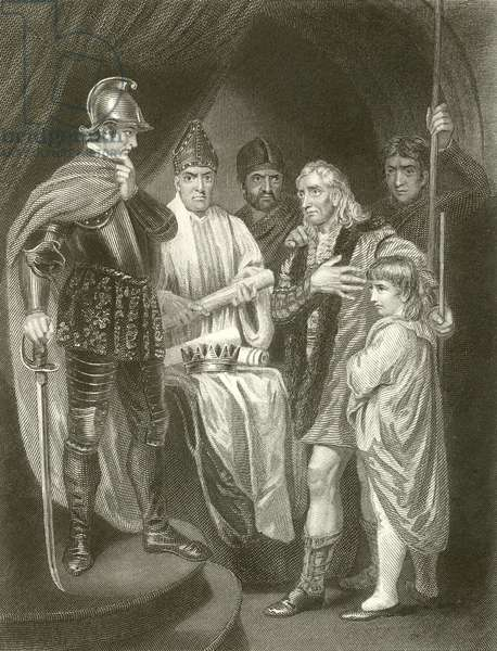 Balliol surrendering his crown to Edward I (engraving)