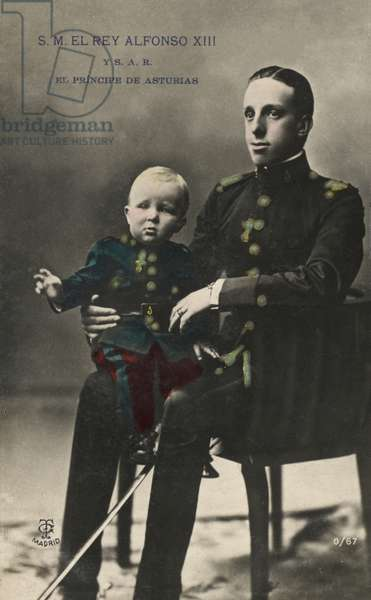 King Alphonso XIII and the Prince of Asturias (colour photo)