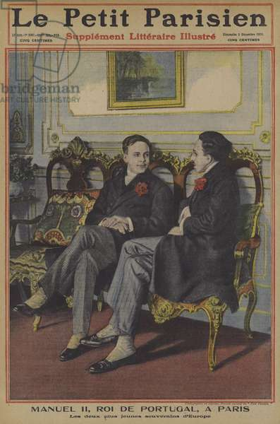 King Manuel II of Portugal and King Alfonso XIII of Spain in Paris (colour litho)