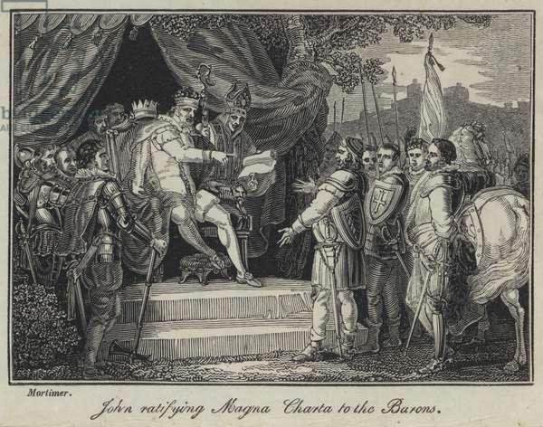 John ratifying Magna Charta to the Barons (engraving)
