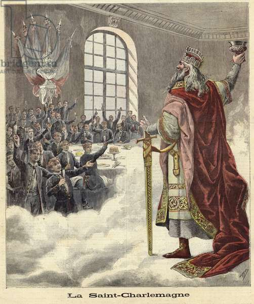 Saint Charlemagne raising a chalice to seated diners (coloured engraving)