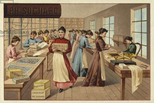 Packing chocolates in a factory (chromolitho)