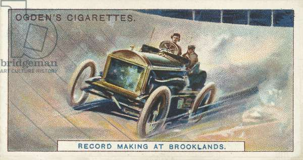 Record Making at Brooklands, The Record Motor Run (chromolitho)