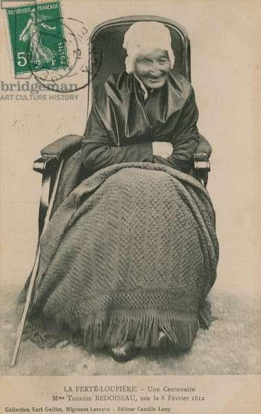 Postcard of a Centenarian, Madame Therese Bedoiseau, La Ferte-Loupiere, 1913 (b/w photo)