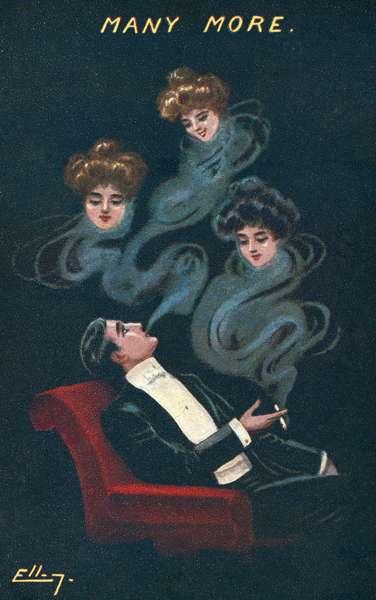 Smoking man dreaming of three girls (colour litho)