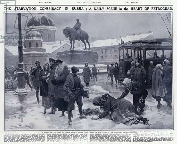 Starving Russian woman collapsed on Znamensky Square in Petrograd under the rule of the Bolseviks, 1919 (litho)