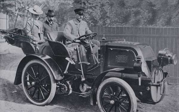 Archduke Franz Ferdinand of Austria and the Princess von Hohenberg in their Daimler motor car, 1900s (b/w photo)