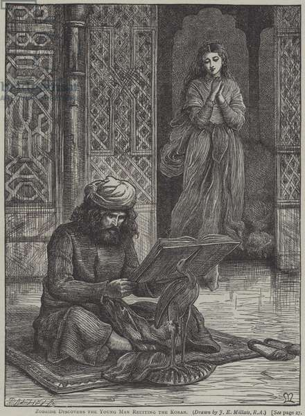 Zobeide discovers the young man reciting the Koran (engraving)