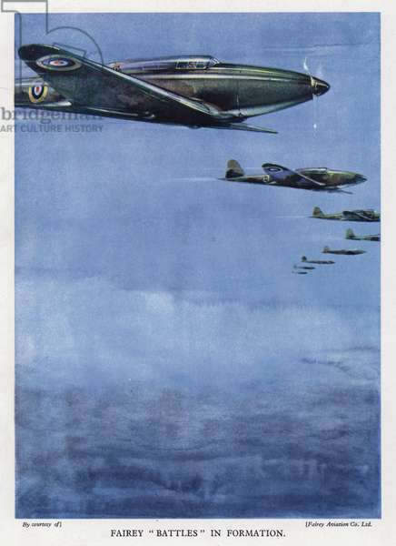 Fairey Battle light bombers flying in formation (colour litho)