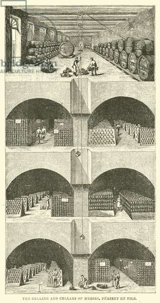 The Cellier and Cellars of Messrs Perinet et Fils (engraving)
