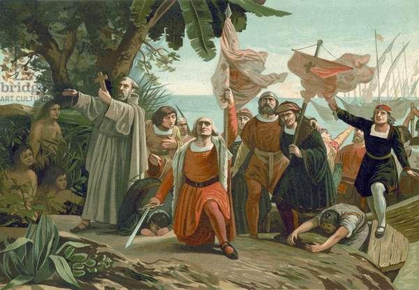 Arrival of Columbus in America, 1492 (chromolitho)