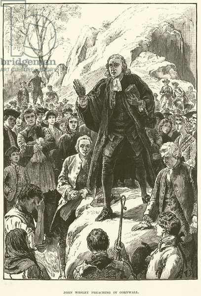 John Wesley, preaching in Cornwall (engraving)