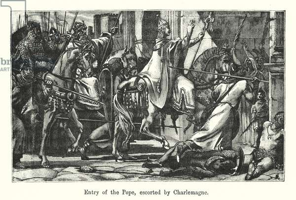 Entry of the Pope, escorted by Charlemagne (engraving)