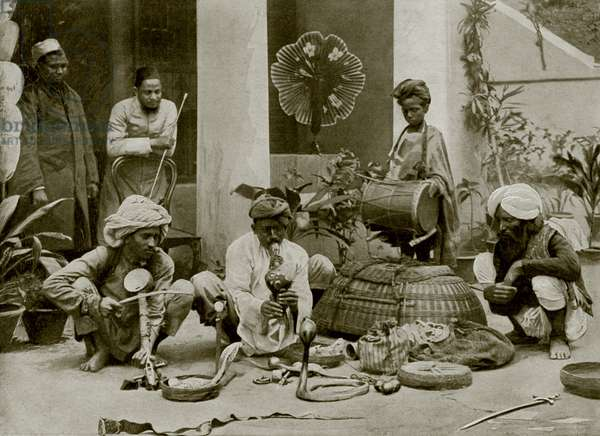 Snake-Charmers in India (b/w photo)