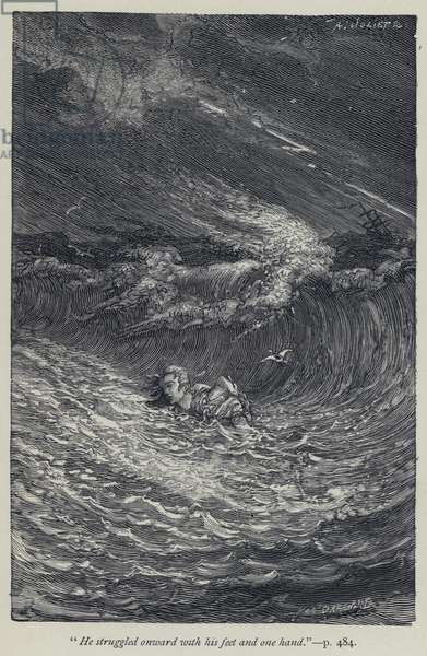 """""""He struggled onward with his feet and one hand"""" (engraving)"""