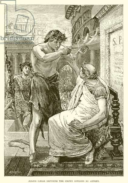 Julius Caesar refusing the crown offered by Antony (engraving)