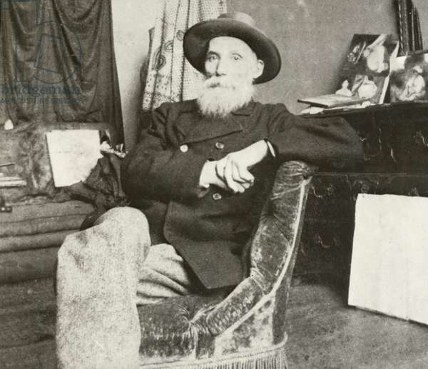 Pierre-Auguste Renoir, French artist (b/w photo)