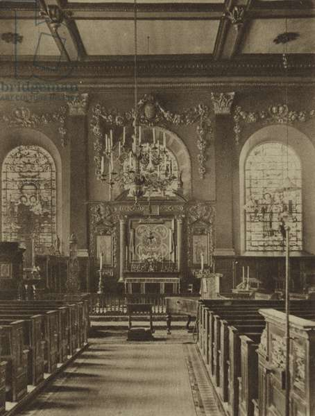 East end of the Church of St Nicholas, Cole Abbey, the first of the churches destroyed by the Great Fire of London to be rebuilt by Sir Christopher Wren (b/w photo)