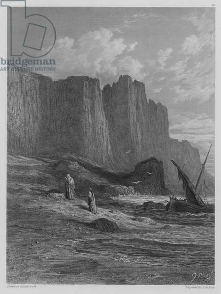 Vivien and Merlin disembark (engraving)