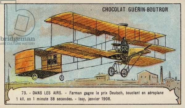 Farman winning the Grand Prix d'Aviation, Issy, France, January 1908 (chromolitho)
