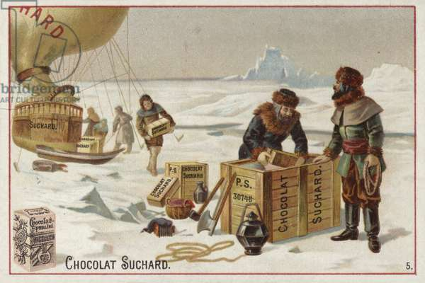 Unloading cases of Suchard chocolate from a balloon in the Arctic (chromolitho)