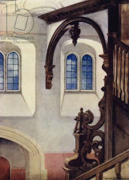 Cambridge: Staircase of the Library, St John's College (colour litho)