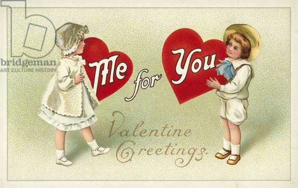 Boy and girl exchanging love hearts, Valentine's greetings card (chromolitho)
