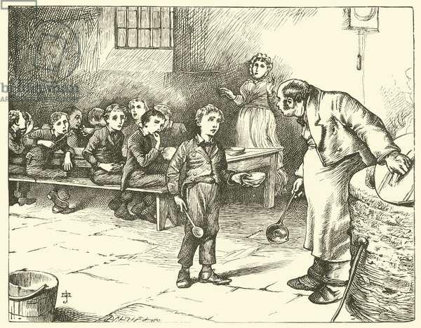 Oliver Twist asks for more (engraving)