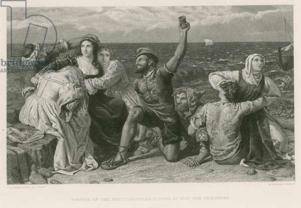 Pirates of the Mediterranean playing at dice for prisoners (engraving)